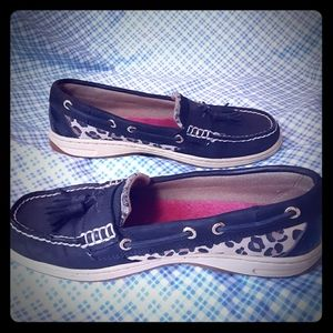 Sperry black & animal print top-sider boat shoes.